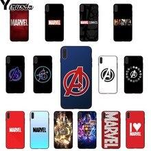 Yinuoda Marvel Comics logo Soft Rubber black Phone Case for Apple iPhone 8 7 6 6S Plus X XS MAX 5 5S SE XR Cellphones