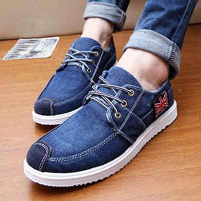 b180bab86e6595 High Quality Men's Jeans Shoes Lace-Up Fashion Casual Shoes Rubber Soles  Students Canvas Shoes Breathable Shoe New