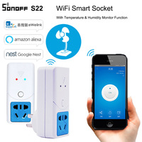 Sonoff S22 Smart Wifi Power Socket AU CN Plug Wireless Outlet Socket Support Temperature Humidity Monitor Sensor Work With Alexa Home Automation Modules