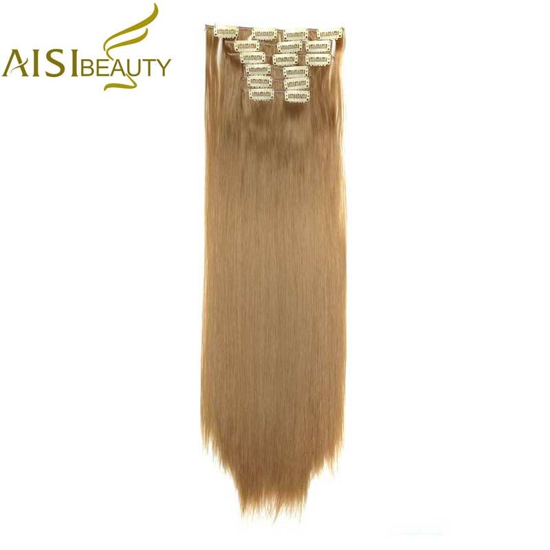AISI BEAUTY 24-inch 16-kleuren zijdeachtige rechte synthetische clip in haarextensies voor dames