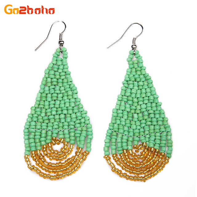 Go2boho Fashion Stud Earrings Women Office Beaded Earring Seed Beads Loom Water Drops Pattern Earings Mexican