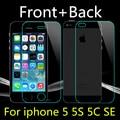 Curva de front + back 9 h 2.5d templado de vidrio templado para apple iphone 5 5s 5c hd lcd film protector de pantalla a prueba de explosiones