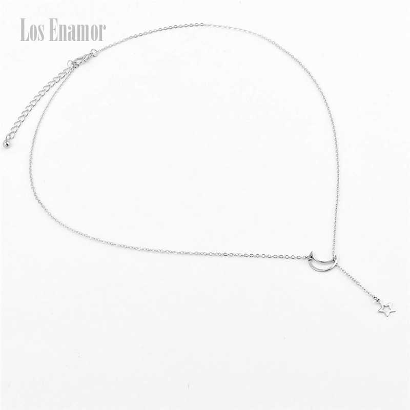 Los Enamor Fashion Gold-color Good Vibes  Necklaces Moon And Star Pentagram Pendant Chain Necklaces & Pendants  Fashion Jewelry
