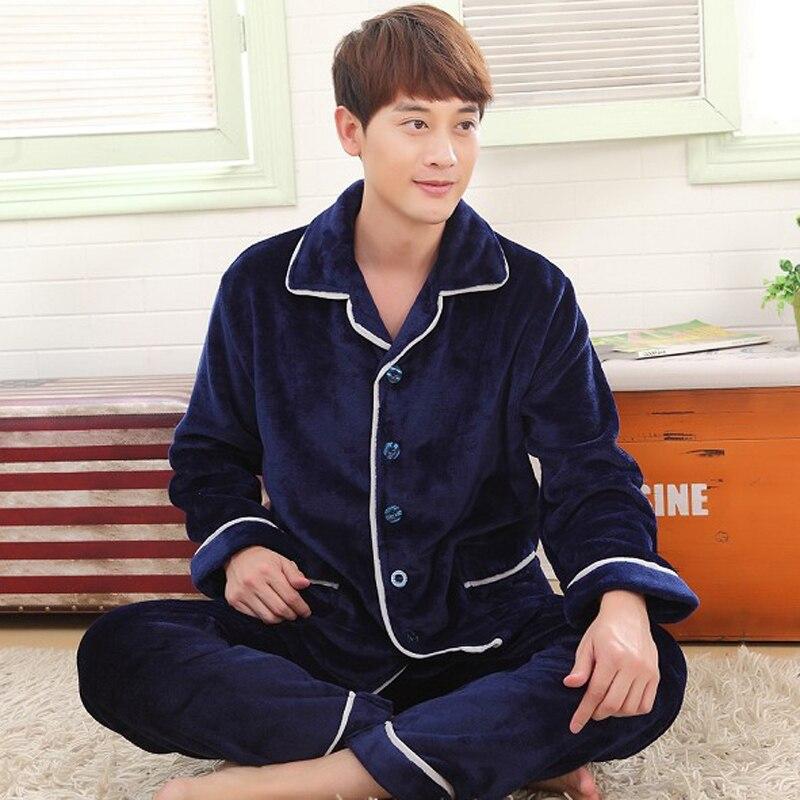 Winter  Autumn Plus Size Flannel Pajamas  Thick Men Coral Fleece Pajama Sets Sleepwear Long-sleeve Male