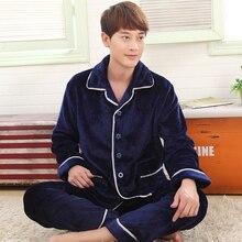 Сезон осень-зима большие размеры фланелевые пижамы толстых мужчин коралловый флис Пижамные комплекты пижамы с длинными рукавами мужской