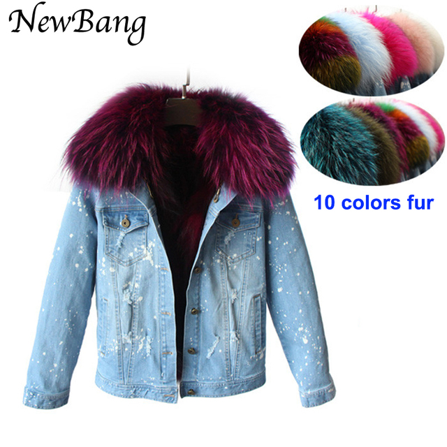 Faster Free Shipping Winter Jacket Women Parkas Denim Large Raccoon Fur Collar Coat Outwear Detachable Fox Fur Liner  Style