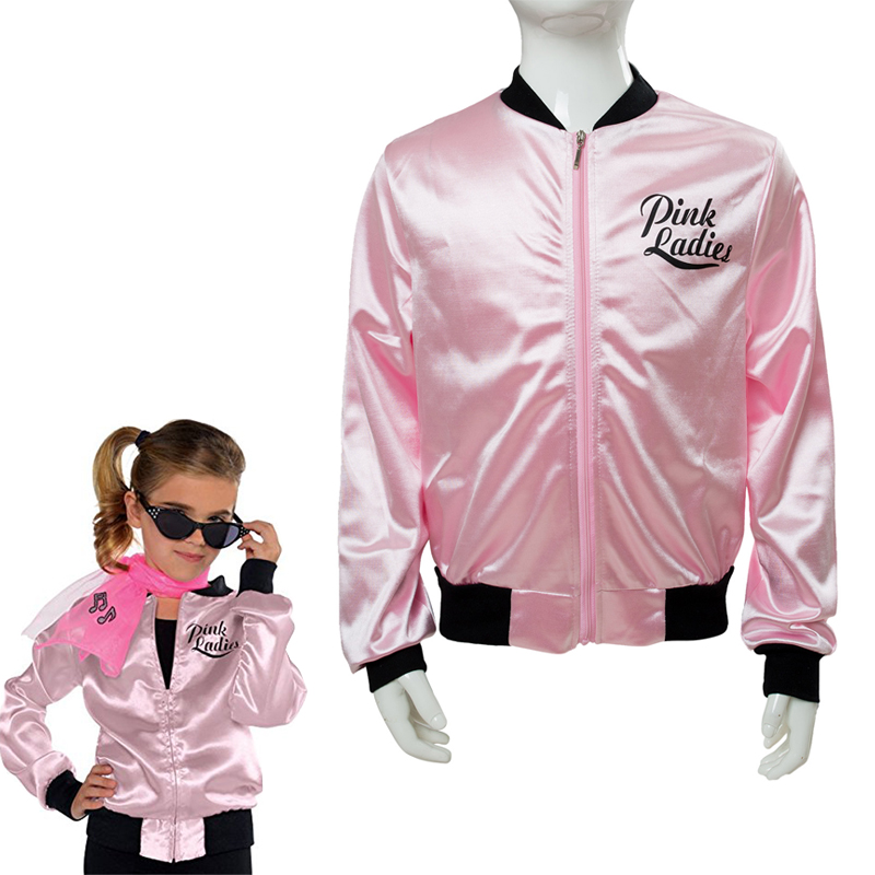 Kids Pink Ladies Grease Jacket Cosplay Costume Retro Fancy Girls Satin Coat Halloween Carnival Party Pink Clothing For Children