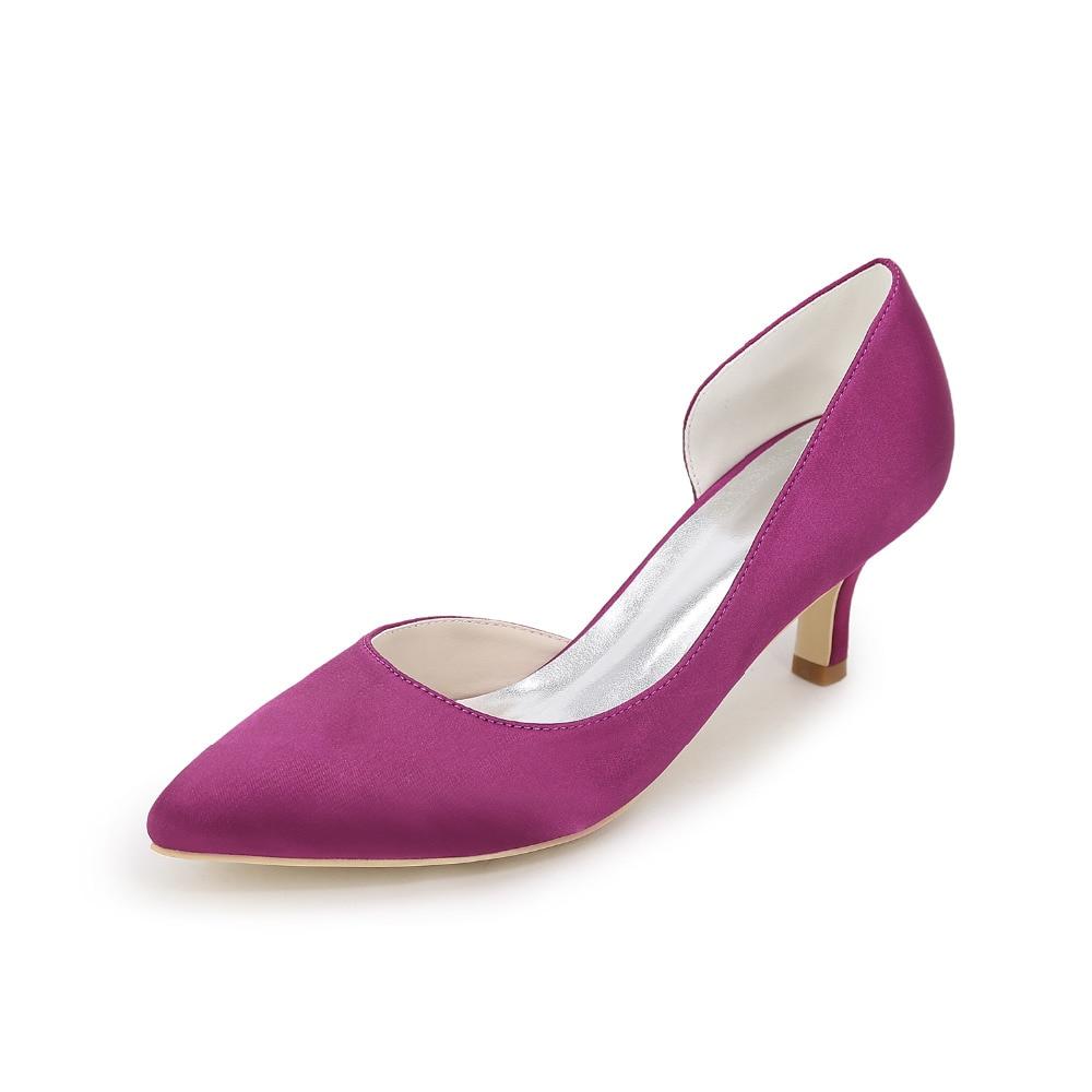 L TC Chaussures pour Femmes Soie Talon Plat Bout Rond Chaussures Plates Mariagechampagne/Argent/Mauve/Bleu/Rouge/Rose/Blanc, Red, 40