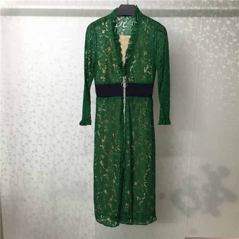 Green Lace Dress for Women Long Sleeve Sexy V neck Sweet Fashion Summer Dress for Lady 2018 new WOmen Dress