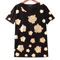 2016 Del Verano Del Diseñador de Moda Marca Punk Rock Camiseta Divertida mujeres de Oro Tigres Imprimir O-cuello de Manga Corta Harajuku Camiseta Tops