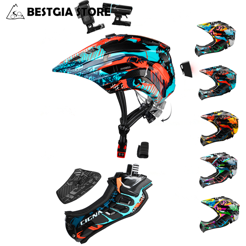 Camera Installable Bicycle Full Covered Children Helmet Kids Sports Safety Cycling Helmets With Taillight Full Face
