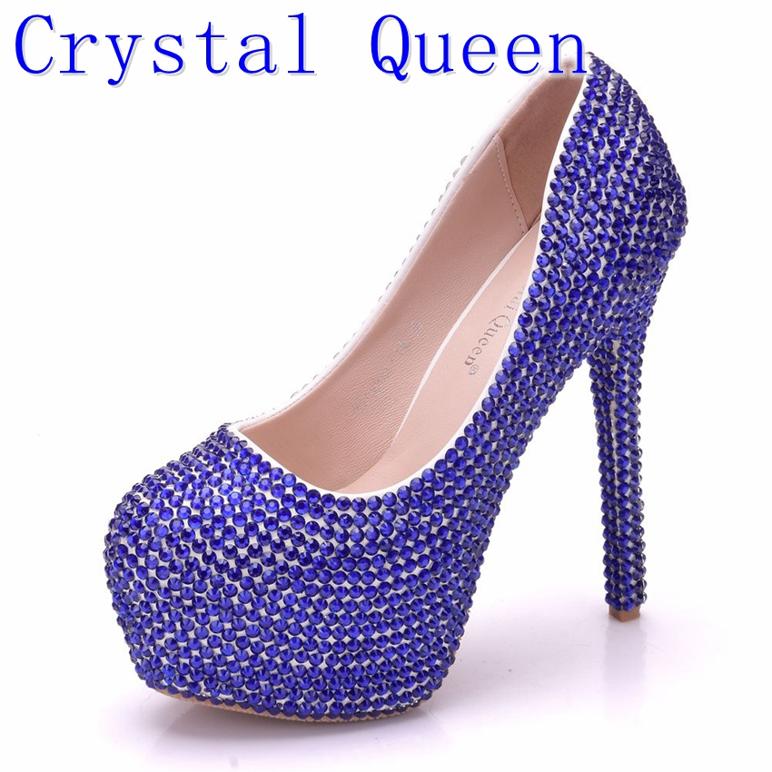 Crystal Queen Beautiful Fashion Blue Wedding Shoes Woman Pumps Rhinestone Bridal Dress Shoes Lady High Heel Party Prom Shoes white ab crystal wedding shoes sparkling rhinestone bridal dress shoes plus size platform high heel shoes cinderella prom pumps