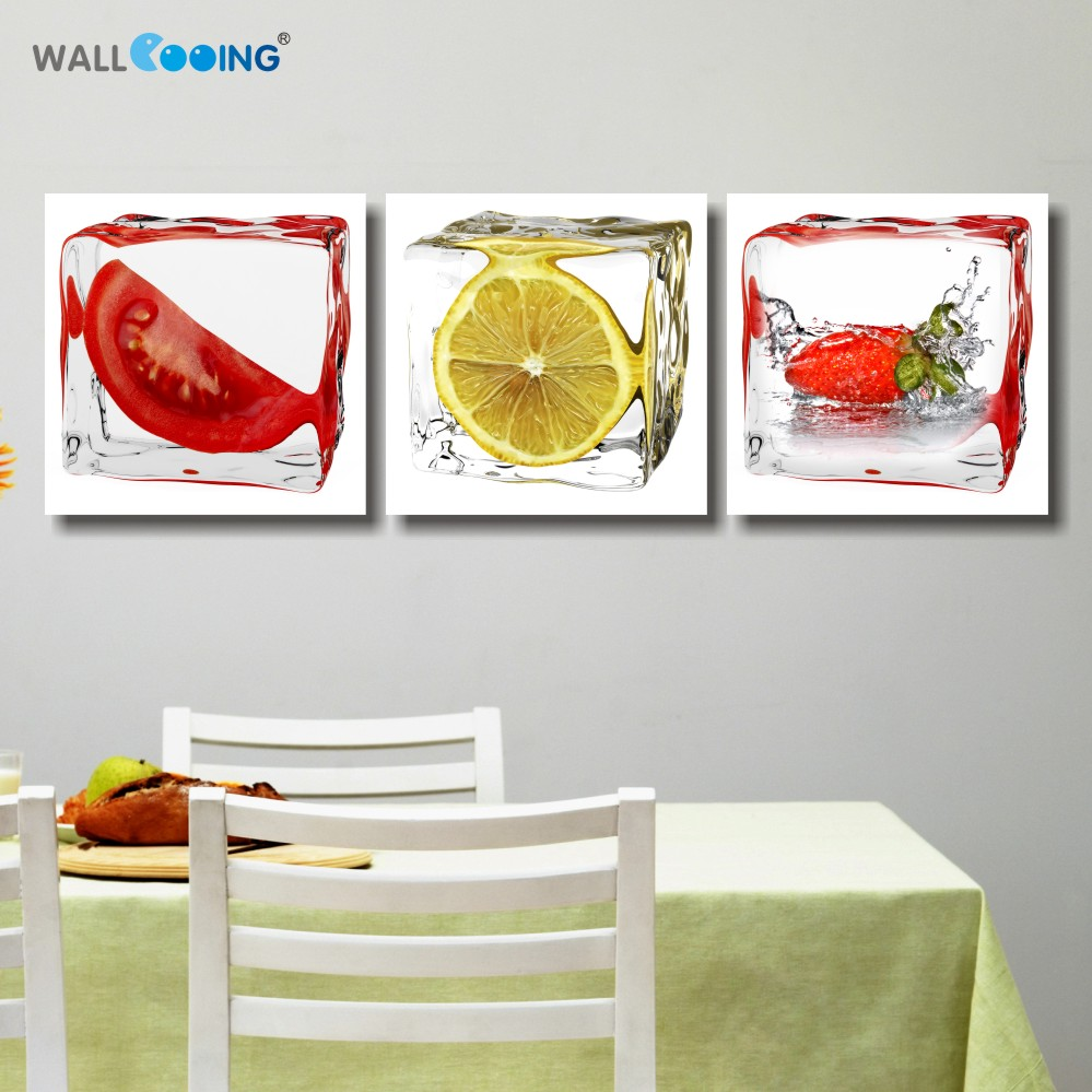 Apple Kitchen Decor Cheap: 3 Panel Printed Fruit Lemon Canvas Painting Modern Modular