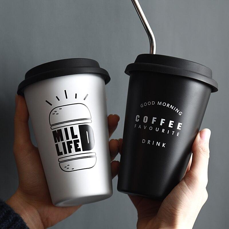 Edelstahl Tassen mit Deckel Stroh Tasse Hülse 450ML Metall Trinken Becher Kaffee Becher Lebensmittel Grade Tassen BPA FREI für Kinder Erwachsene