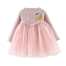 Spring Cute Girl Long Sleeve Princess Dress Patchwork Ruched Tutu Strawberry Dresses Toddler Outfits