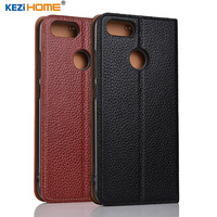 Case For ASUS Zenfone Pegasus 4S Max Plus X018DC KEZiHOME Litchi Genuine Leather Flip Stand Leather