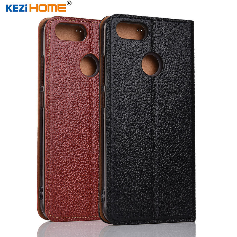 case for ASUS Zenfone Pegasus 4S Max Plus X018DC KEZiHOME Litchi Genuine Leather Flip Stand Leather Cover For ASUS ZB570TL