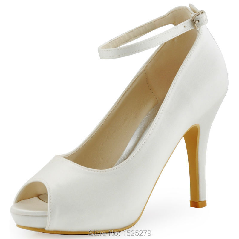 HP1543I White Ivory Women high heel platform pumps Peep toe Ankle strap satin lady bride evening party wedding bridal shoes