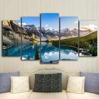 5 stück Moderne Leinwand Moraine See Und Berg Malerei Wand Kunst Die Bild Für Home DecorationGiclee Kunstwerk Für Wand Dekor