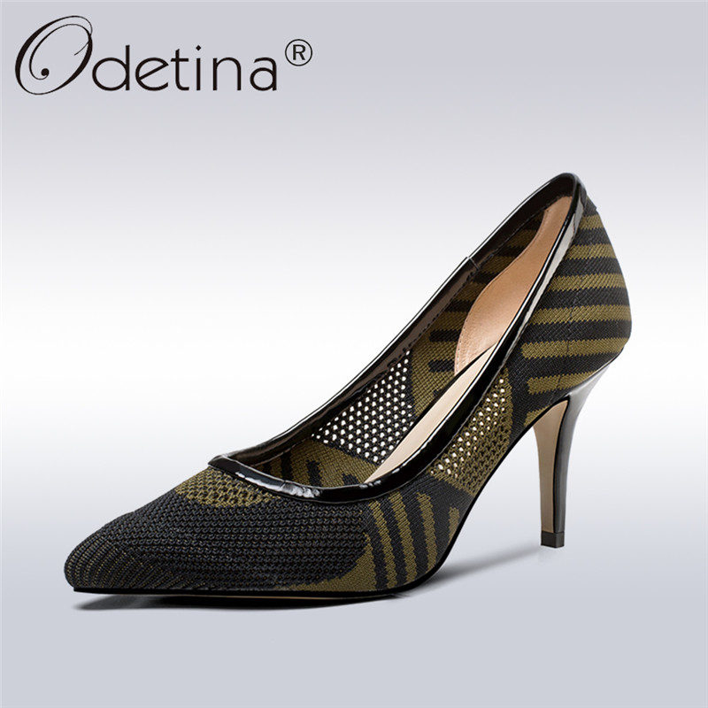 Odetina 2018 New Fashion Pointed Toe Pumps For Ladies Slip On Thin Heels Pump Mature Shoes Women High Heels Footware Big Size 42 2017 new summer women flock party pumps high heeled shoes thin heel fashion pointed toe high quality mature low uppers yc268