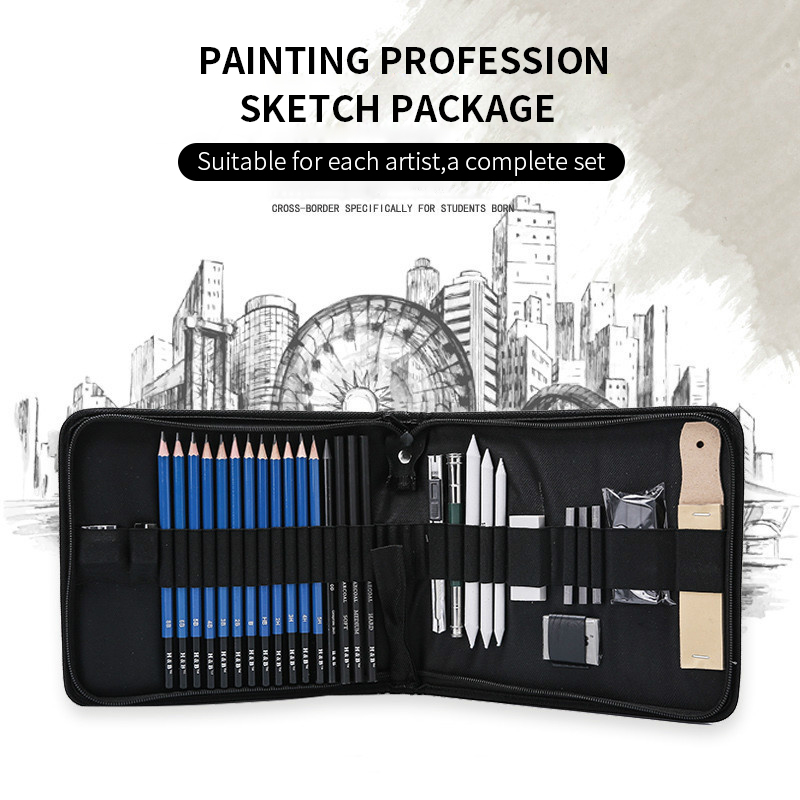 33pcs Sketch Pencil Set Professional Sketching Drawing Kit Set Canvas Folded Carrying Bags For Painter School Students