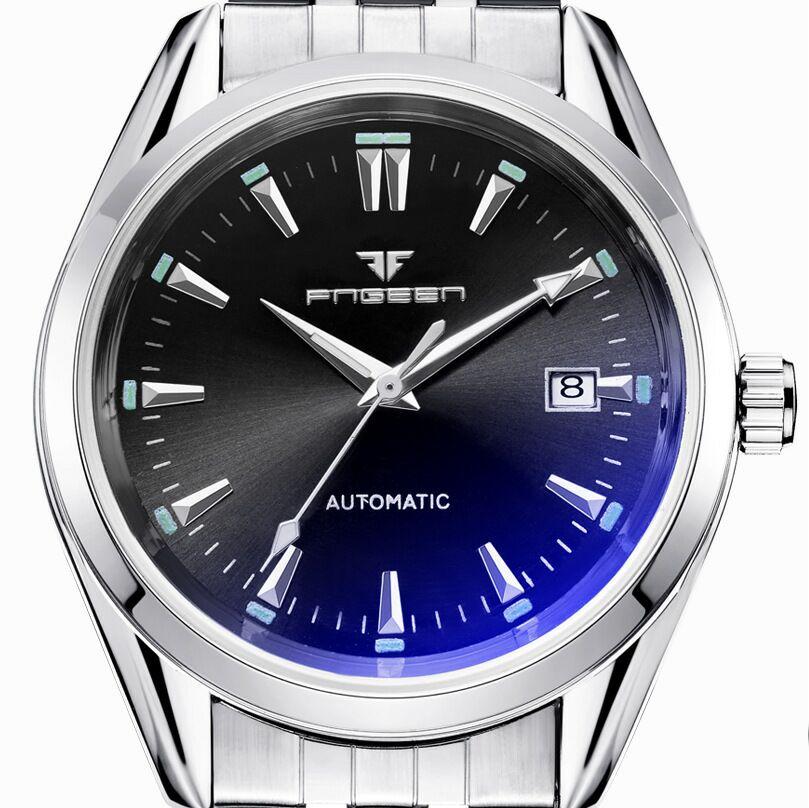 1a4c4fc8000 Nova Moda Blue Light Wwatches Homens de Negócios de Luxo Relógio Mecânico  Automático Calendário Casual Relógios