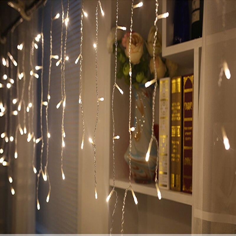 все цены на christmas outdoor decoration 5m Droop 0.4-0.6m curtain icicle string led lights 220V New year Garden Xmas Wedding Party онлайн