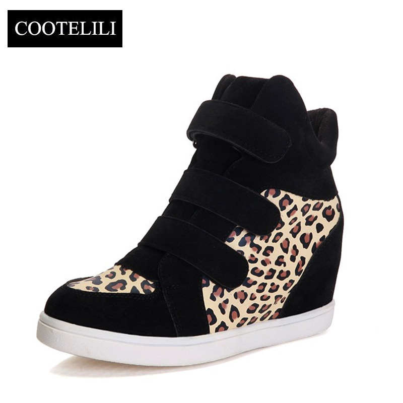 2018 Brand Autumn Women Casual Shoes Leopard Suede Ankle Boots Heels Platform Wedge 9 colors Height Increasing Sneakers Women women s genuine suede leather hemp wedge platform slip on autumn ankle boots brand designer leisure high heeled shoes for women