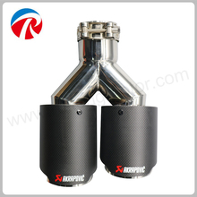 Universal Dual inlet 63mm outlet 89mm Akrapoviv Car Carbon Fiber Exhaust Pipe Silencer Stainless Steel Muffler Tip Tail Pipe