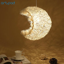 Artpad Home Decoration Natural Pendant Light Vine Wicker Rattan E27 LED Moon Hanging Lamp Dining Room Bar Coffee Shop Fixtures modern southeast asia pastoral hand knitted rattan wicker led e27 pendant light for dining room living room dia 27 37 42cm 2288