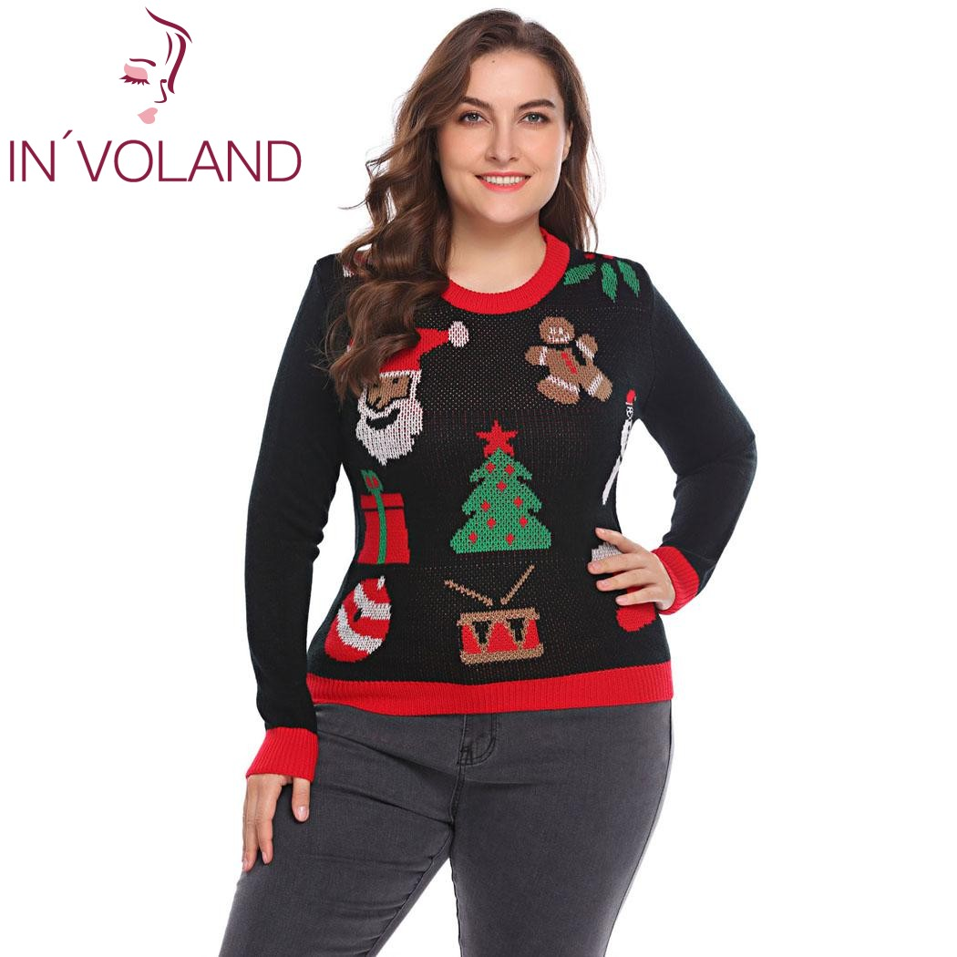 INVOLAND Plus Size Women Knit Sweater Tops XL-5XL 2018 Spring Autumn Christmas Santa Pattern Large Pullover Jumper Oversized