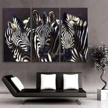 Hd Oil Painting Three Zebra Decoration Home Decor On Canvas Modern Wall Art Print Poster