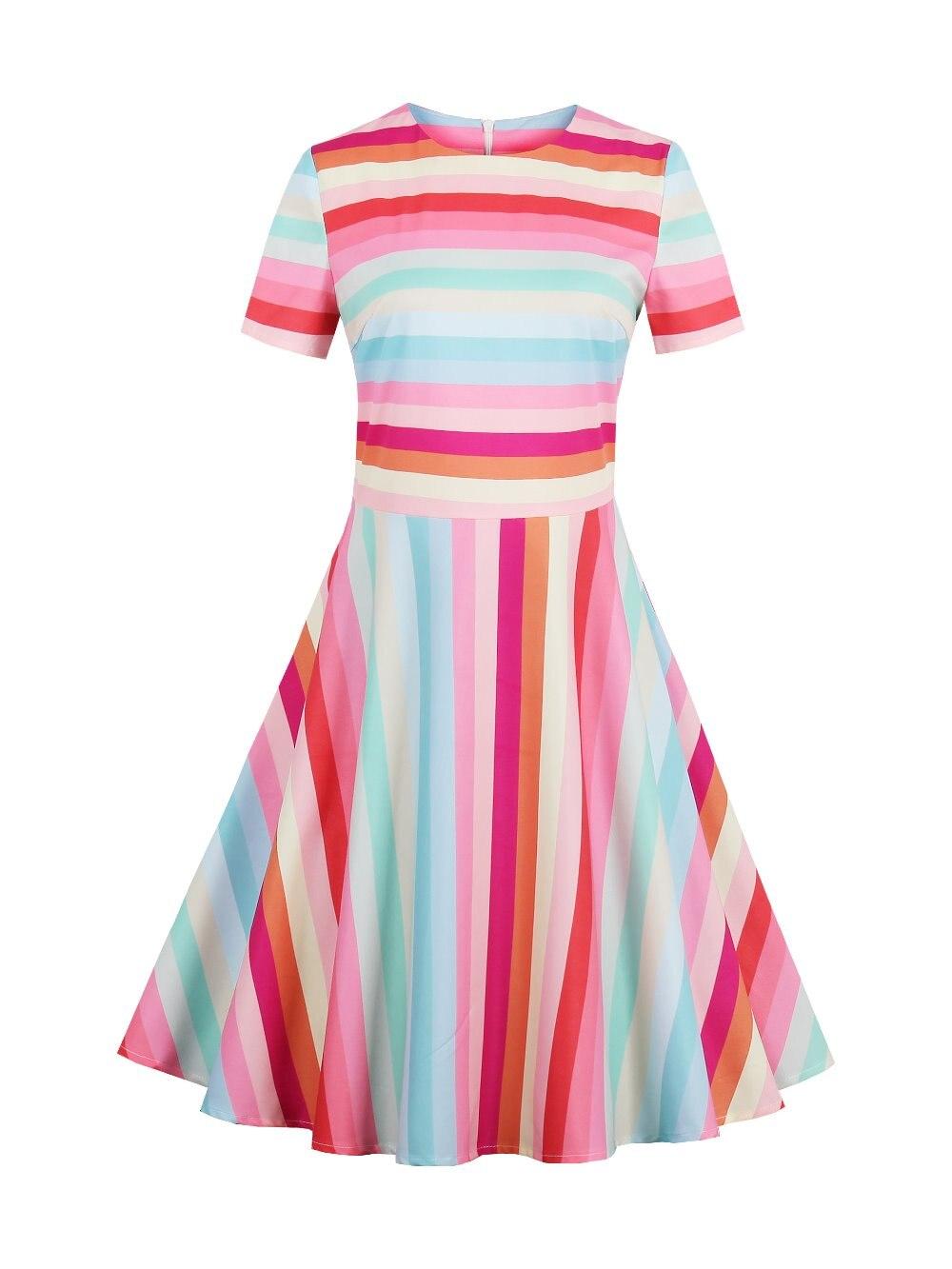 2017 Women Summer Rainbow Dress Female Spring Multi-Color Short Sleeve Dresses Knee-Length O Neck Dresses Girls Dress