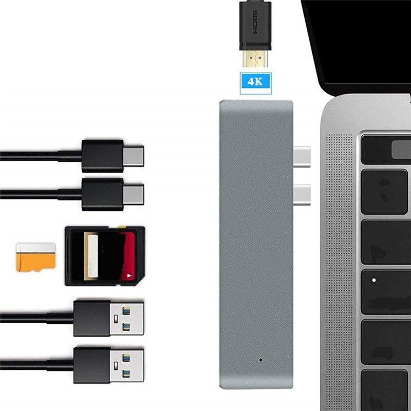 USB HUB C 3.1 Hub To HDMI Adapter 4K Thunderbolt 3 USB C Hub With Hub 3.0 TF SD Reader Slot PD For MacBook Pro/Air 2018