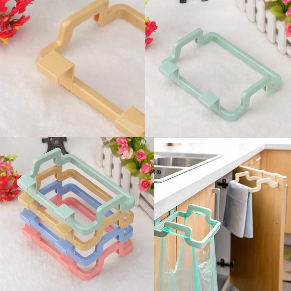Porta bolsa de basura soporte de plástico colgador de almacenamiento de basura de cocina soporte de bolsa de basura cocina portátil armario de incógnito tela