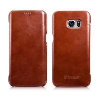 Original ICARER Business Premium Vintage Genuine Leather Flip Cover Cases For Samsung Galaxy S7 Edge