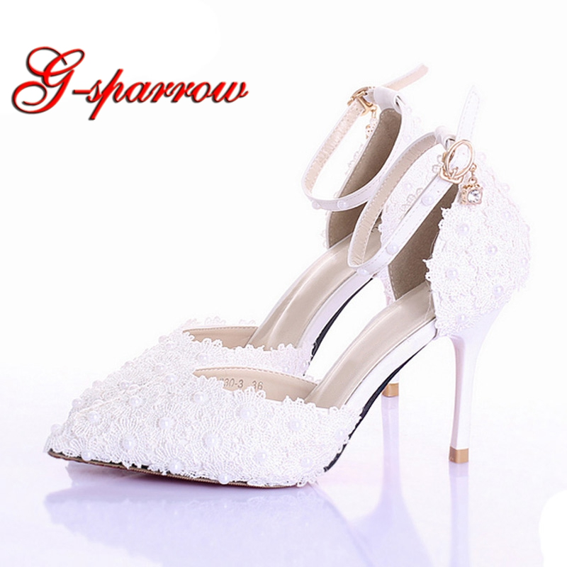 3f721c27c76 US $59.19 20% OFF|3 Inches White Pink Lace Bridal Shoes Pointed Toe Pumps  Ladies Platform Bridal Shoes Ankle Strap Stiletto Heel Bridesmaid Shoes-in  ...