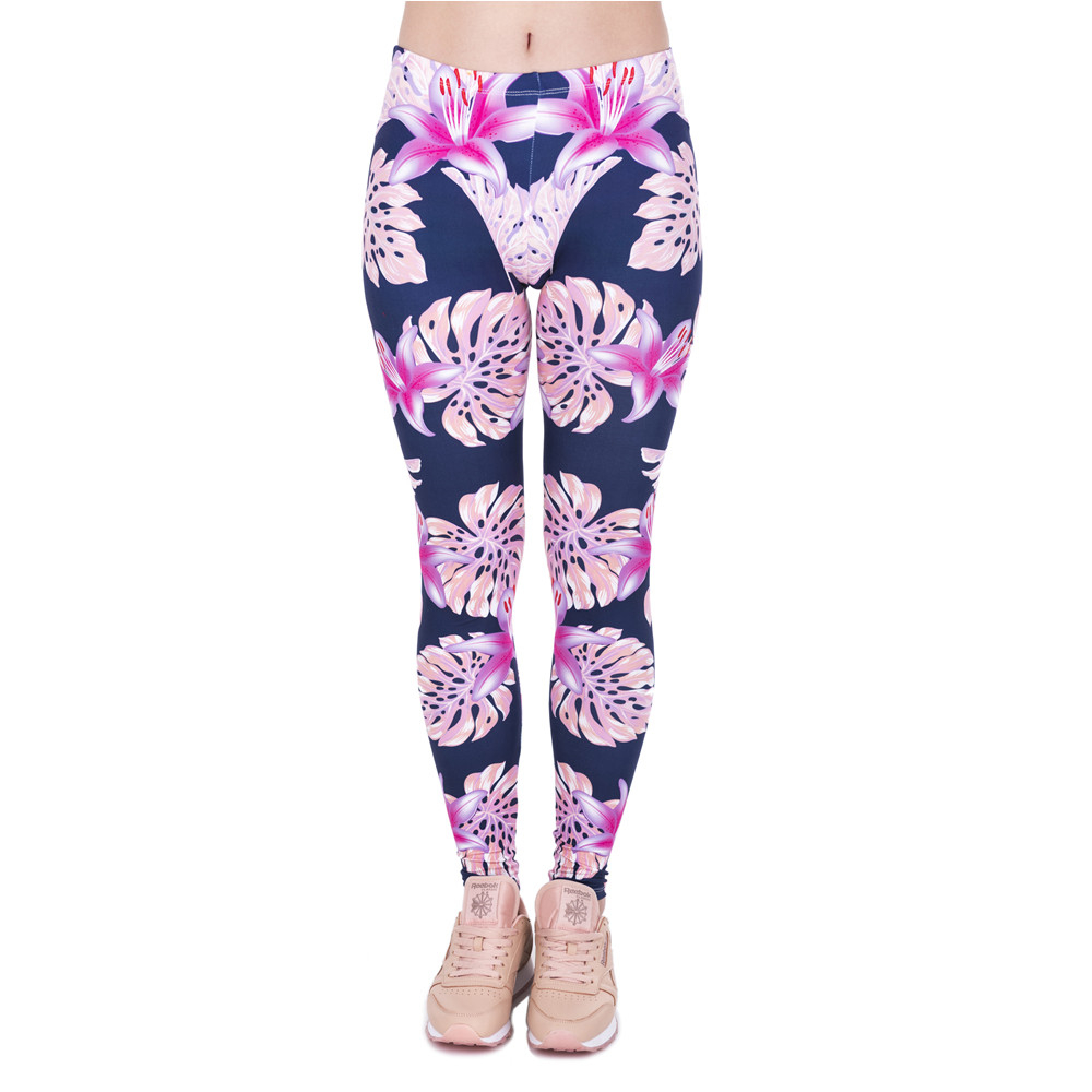 Pink Vegetation Printing Fashion Women Legins Woman Casual Legging High Waist Leggings