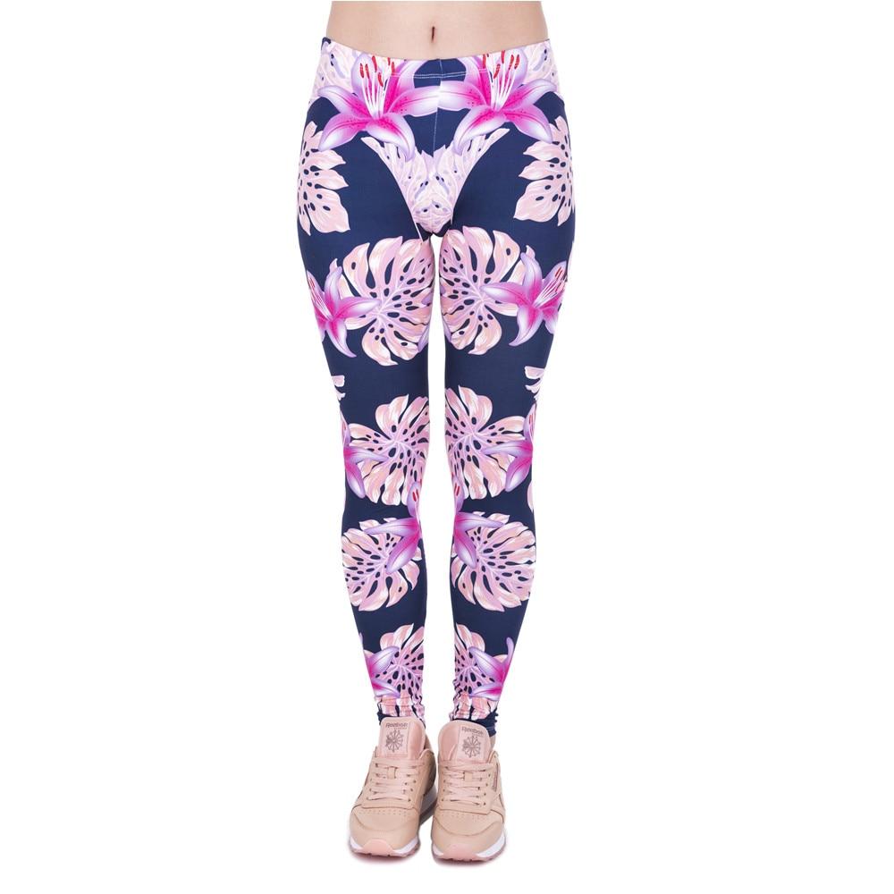 Pink Vegetation Printing Fashion Women Legins Woman Casual Legging High Waist Leggings