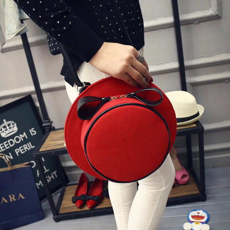 Women Creative Handmade Bag Woolen Fedora Hat Shape Stylish Casual Bag Lolita Sweet Bow Single Shoulder/Messenger Bag