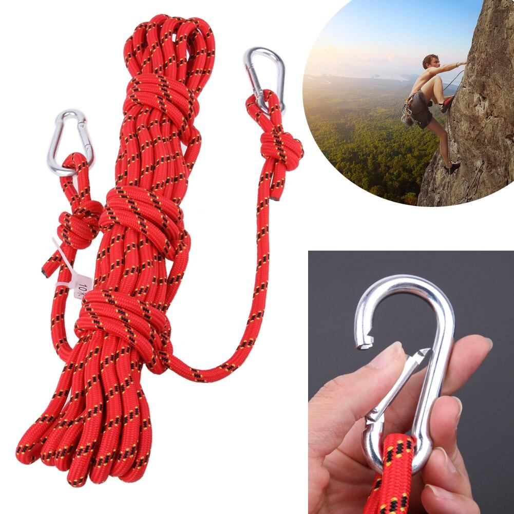 10 M/32.8ft cuerda de escalada al aire libre Survival Paracord alta resistencia tejidas cuerda estática para montañismo senderismo de rescate de emergencia