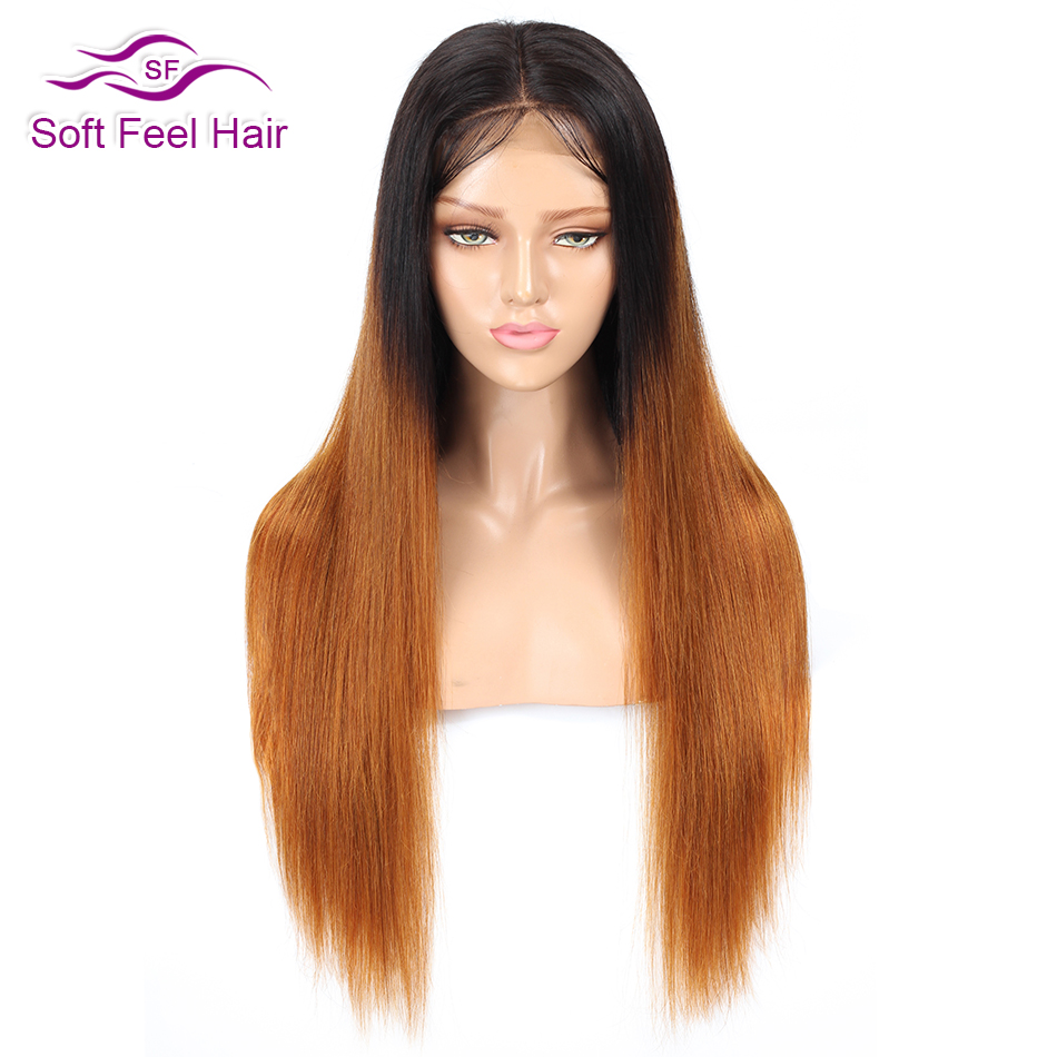 Soft Feel Hair Ombre Lace Front Human Hair Wigs Pre Plucked Ombre Brazilian Straight Wig For