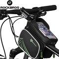 Rockbros bicicleta saco à prova de chuva bicicleta cabeça frente bicicleta bag top tubo Duplo IPouch Ciclismo Pannier 5.8 6.0 6.2 Polegada de Toque tela