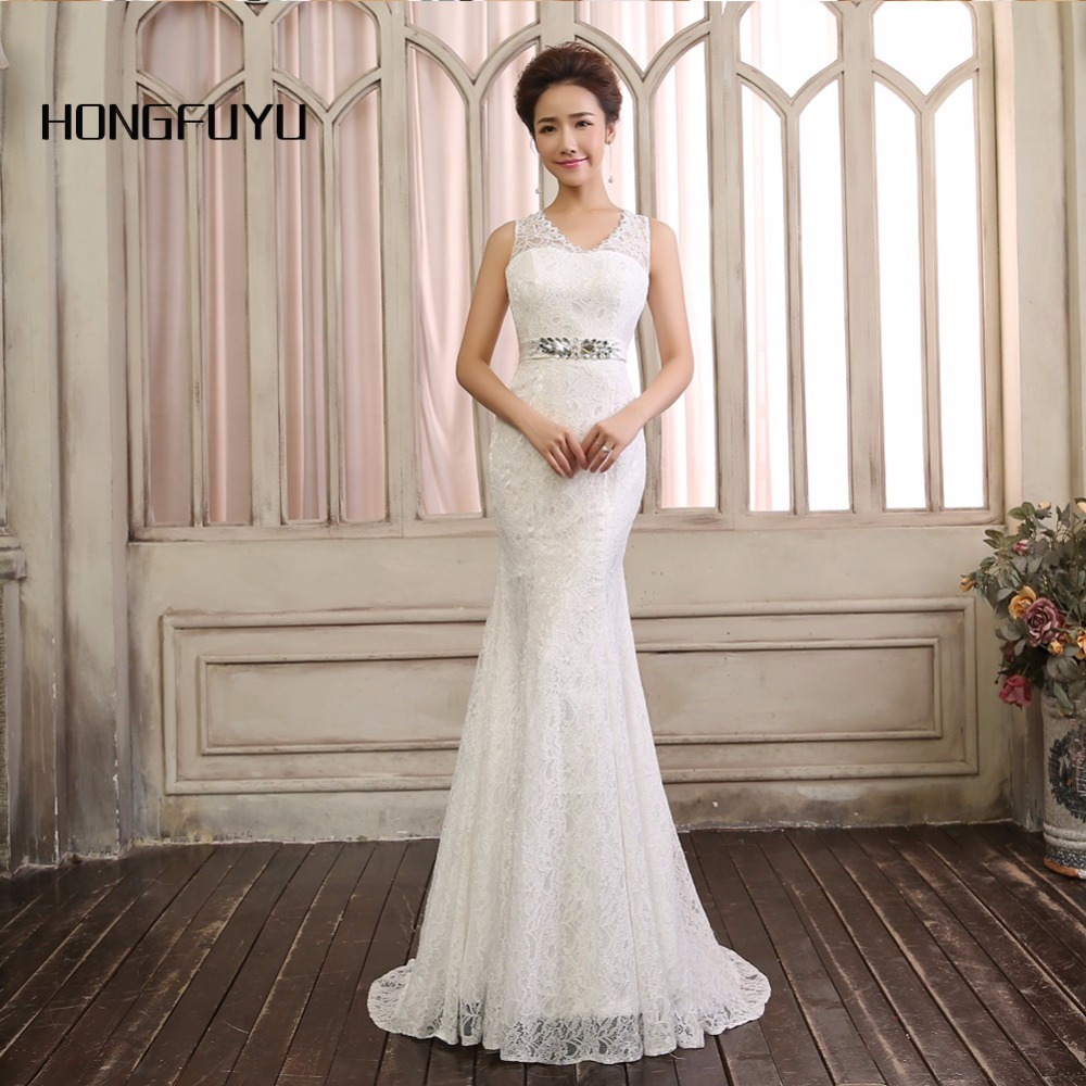 Real picture White Lace Sexy V Neck Beaded Long Evening Dresses 2018 Open Back Mermaid Sashes Floor Length Evening Gowns IQ1A12