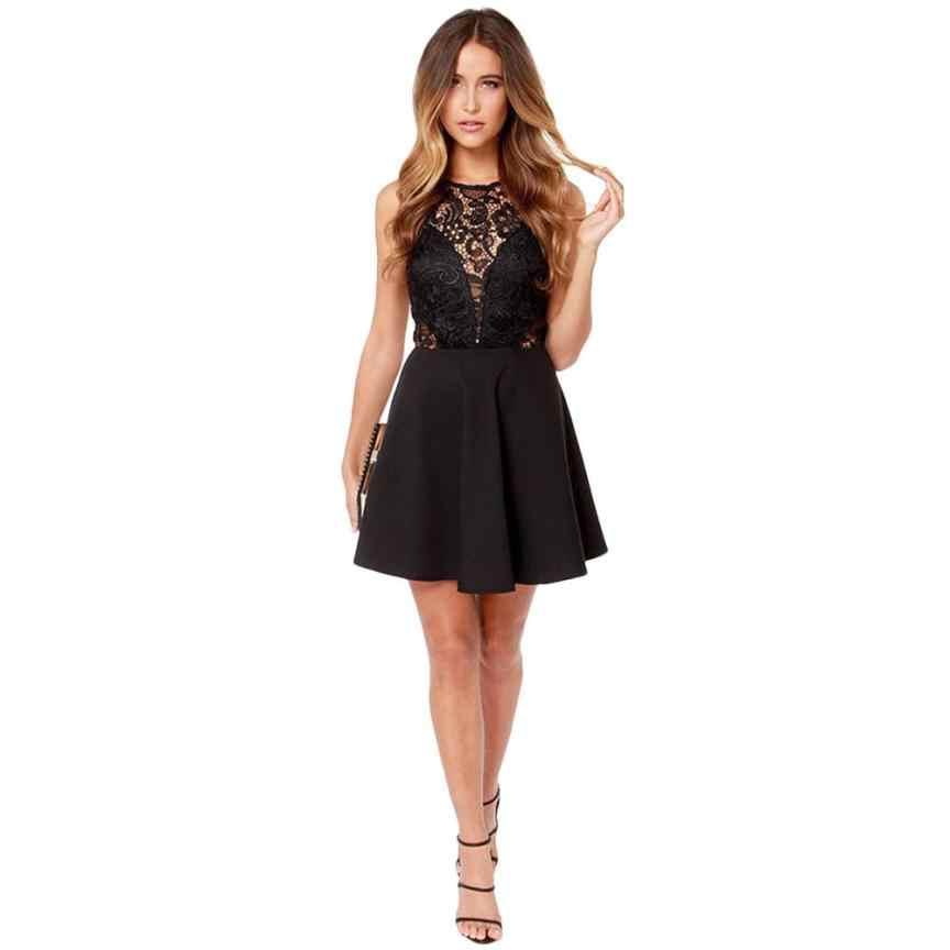 2019 soirée robes de soirée Vestido Sexy boîte de nuit robe de bal hors de l'épaule robes noir femme Mini dentelle robe feb8