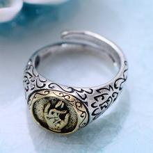 925 Sterling Silver Buddhist blessing ring opening refers to Nianhua fashion personality jewelry free shipping
