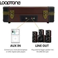LoopTone Bluetooth Portable 33/45/78RPM Turntables Vinyl Record Phono Player Aux-in RCA Line-out Built-in Battery 110~240V