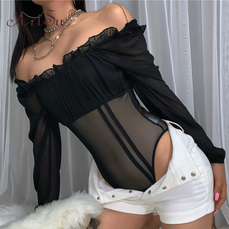 ArtSu Black Mesh Sexy Bodysuit Women Off Shoulder Long Sleeve Body Suit Top Bodycon Ruffle See Through Party Bodysuits Autumn