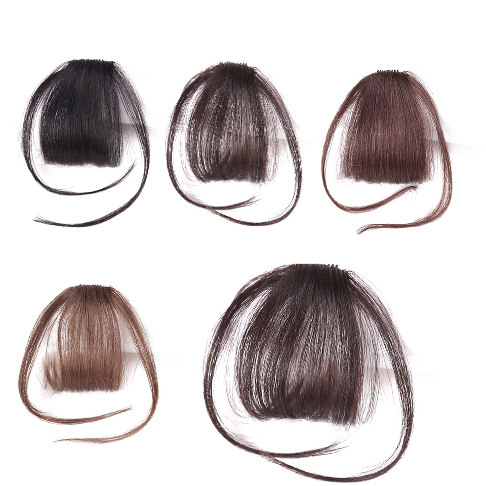 Neat Front False Fringe Thin Blunt Clip In Bangs Hair Extension