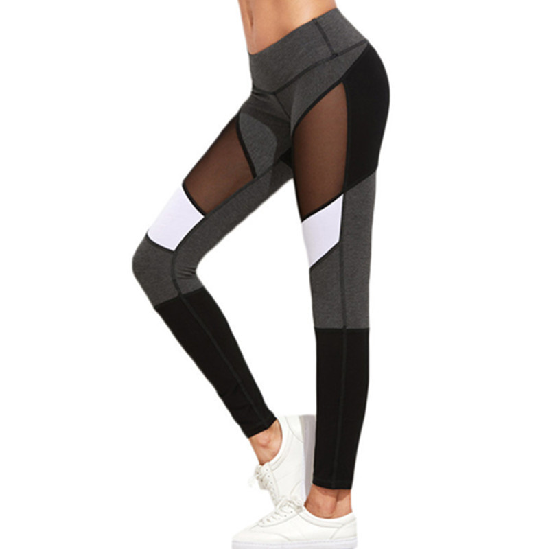 Kvinnor Fitness Leggings Svart Casual Leggins Workout Byxor Mesh - Damkläder - Foto 2
